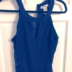 Navy Lace High Neck Sleeveless Top